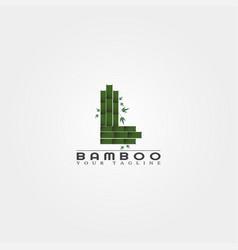 L letter bamboo logo template creative design vector