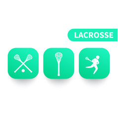lacrosse icons on green shapes vector image
