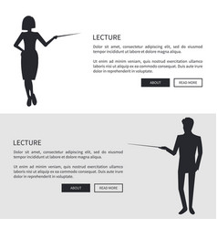Lecturer man and woman dressed formally silhouette vector