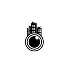 lens camera and town logo designs inspiration vector image