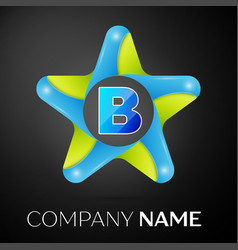 Letter b logo symbol in the colorful star on black vector