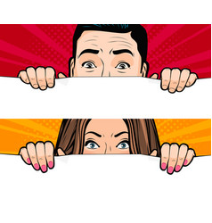 Man and woman looking retro comic pop art vector