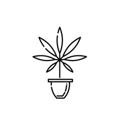marijuana in pot line icon - thin outline cannabis vector image