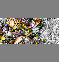 Massage hand drawn doodle banner cartoon detailed vector