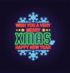 merry christmas and happy new year neon sign vector image