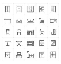 mini icon set - furniture icon vector image