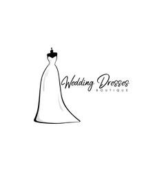 monochrome bridal boutique logo wedding dresses vector image