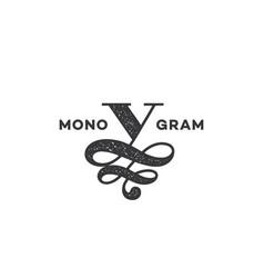monogram v vector image