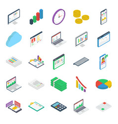 pack finance isometric icons vector image