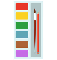 painting colorful palette with tassel and pencil vector image