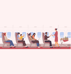 People sit on armchair at airplane side view vector