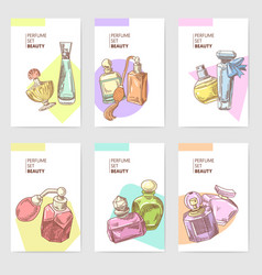 perfume bottles hand drawn cards template vector image