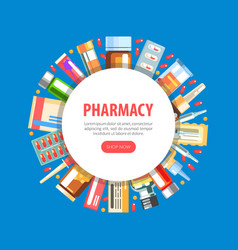 pharmacy landing page template medications and vector image
