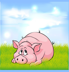 pig cartoon laying on green grass - vector image
