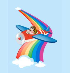 Pilot flying jet plane over the rainbow vector