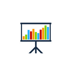 presentation stock market business logo icon vector image