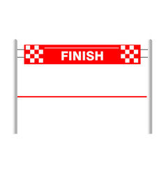 red ribbon finishing line finish vector image
