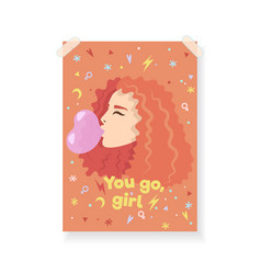 redheaded girl blows a heart-shaped bubble with vector image