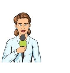 Reporter journalist woman pop art style vector