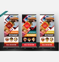 Restaurant roll up banner template vector
