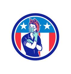 rosie riveter wearing mask usa flag mascot vector image