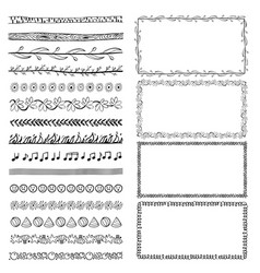 set of hand-drawn doodle frames sketch borders vector image