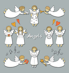 Set with christmas angels vector