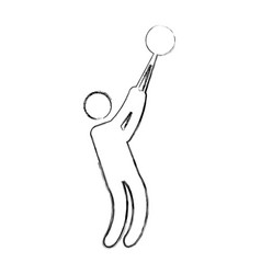 Silhouette of athlete practicing bullet throw vector