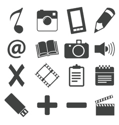 Simple black icon set 6 vector