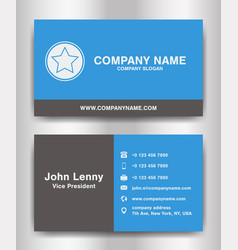simple blue and black theme business name card vector image