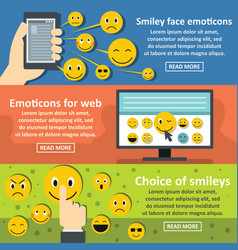 smile emotions banner horizontal set flat style vector image
