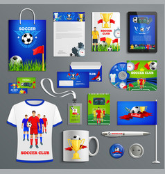 soccer sport club corporate identity set vector image