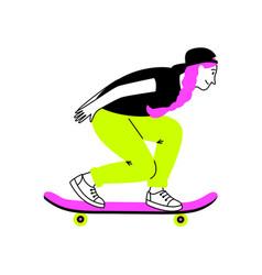 sporting girl on skateboard vector image