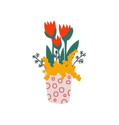 spring red tulip flowers in flowerpot beautiful vector image