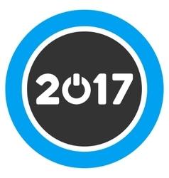 Start 2017 Year Round Button Flat Icon vector
