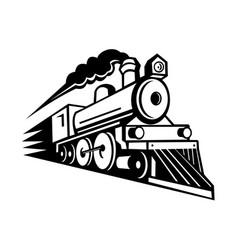 Steam locomotive speeding forward retro mascot vector