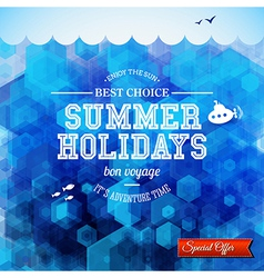 Summer design Poster for summer holidays Hexagon vector