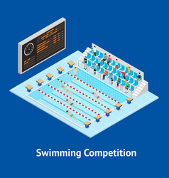 swimming competition concept card 3d isometric vector image