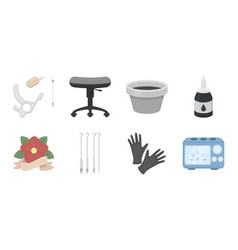 tattoo drawing on the body icons in set vector image