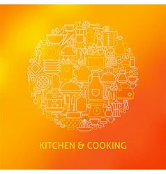 Thin Line Cooking Utensils and Kitchenware Icons vector image vector image