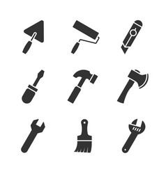 tools black icons vector image