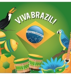 Tuncan cartoon of brazil and icon set design vector