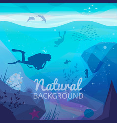 underwater diving infographics natural background vector image