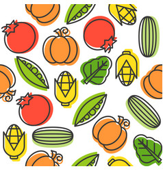 vegetable seamless pattern cucumber tomatoes corn vector image