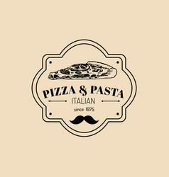 vintage hipster italian food logo modern vector image