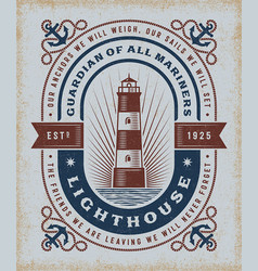 Vintage lighthouse typography vector