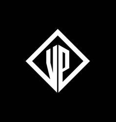 Vp logo monogram with square rotate style design vector
