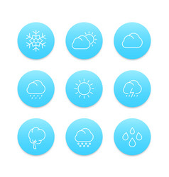Weather line icons rain hail wind sun snow vector
