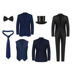 wedding or dinner mens suit realistic mockup vector image