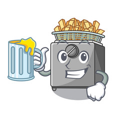 With juice cooking french fries in deep fryer vector